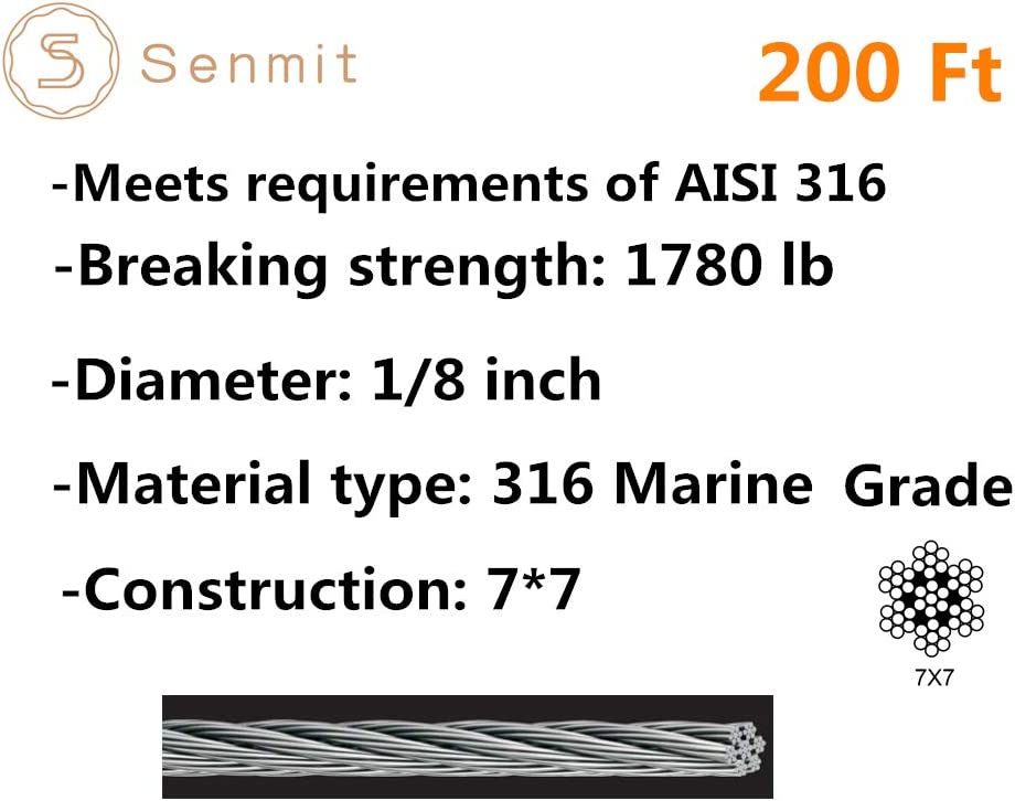 Senmit 1//8 Stainless Steel Aircraft Wire Rope for Deck Cable Railing Kit,7x7 300Feet T316 Marin Grade