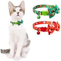 SCENEREAL Christmas Cat Collar 2 Packs - Adjustable Cats Breakaway Collars Bowtie Collars with Bells, Cute Snowman Gingerbread Christmas Pattern for Cats Kitten
