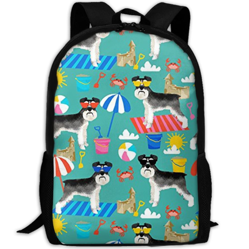 Klnsha7 Laptop Backpack Schnauzer Summer Sandcastles Computer Bag College School Backpack For Women And Men
