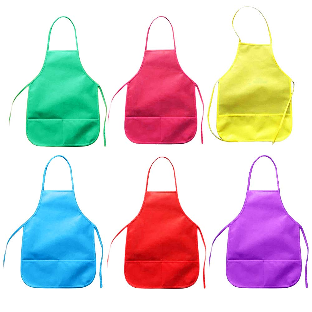Children's Artists Waterproof Aprons, 6 Pack Kids Toddler Fabric Aprons for Kitchen Baking Cooking, Classroom, Community Event, Crafts and Art Painting Activity, Assorted Colors, 33 x 48cm, Age 3-8 ye pveath