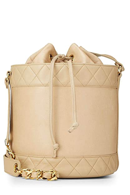 6b2f0bfb0a993 Image Unavailable. Image not available for. Color  CHANEL Beige Quilted  Lambskin Bucket Bag ...