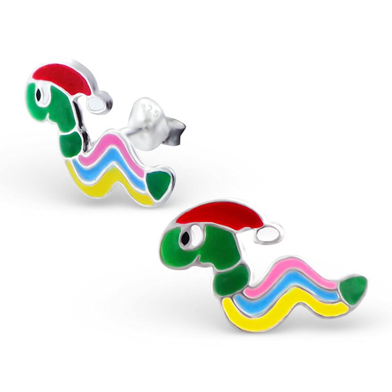 Girls Worm Colorful Ear Studs 925 Sterling Silver