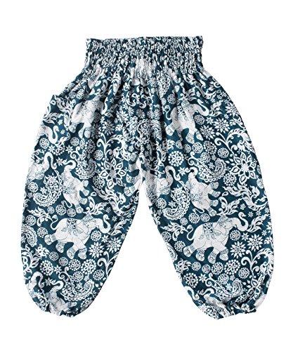Lofbaz Children Hippy Thai Harem Aladdin Pirate Kids Pants Bohemian Baggy Colorful - Elephant 4 Turquoise - 10-11Y