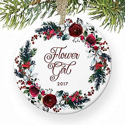 Amazoncom Christmas Tree Ornaments Flower Girl Will You Be My