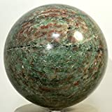 "4.1"" 4.6LB Natural Red and Green Garnet / Almandine Demantoid Gemstone Ball Polsined Crystal Mineral Specimen - China + Round Plastic Stand (#2)"