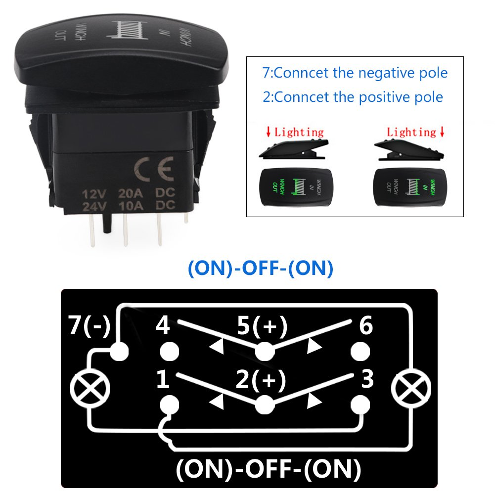 Waterwich 7 Pin Momentary Winch In Out Rocker Toggle Switch Wiring Diagram As Well Light Bar On Spdt Waterproof Dc 20a 12v 10a 24v Black Shell Off Dpdt Illuminated