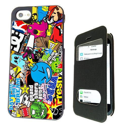 Iphone 5 5s Stickerbomb Sticker Bomb Funky Front Window Design Designer Full Case / Flip Cover Defender Shockproof Holder Pouch Case Cover Iphone Wallet