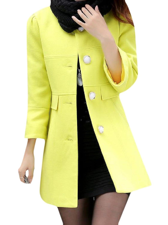 Abetteric Women Solid Color Woolen Mid Long Wid Overcoat Top