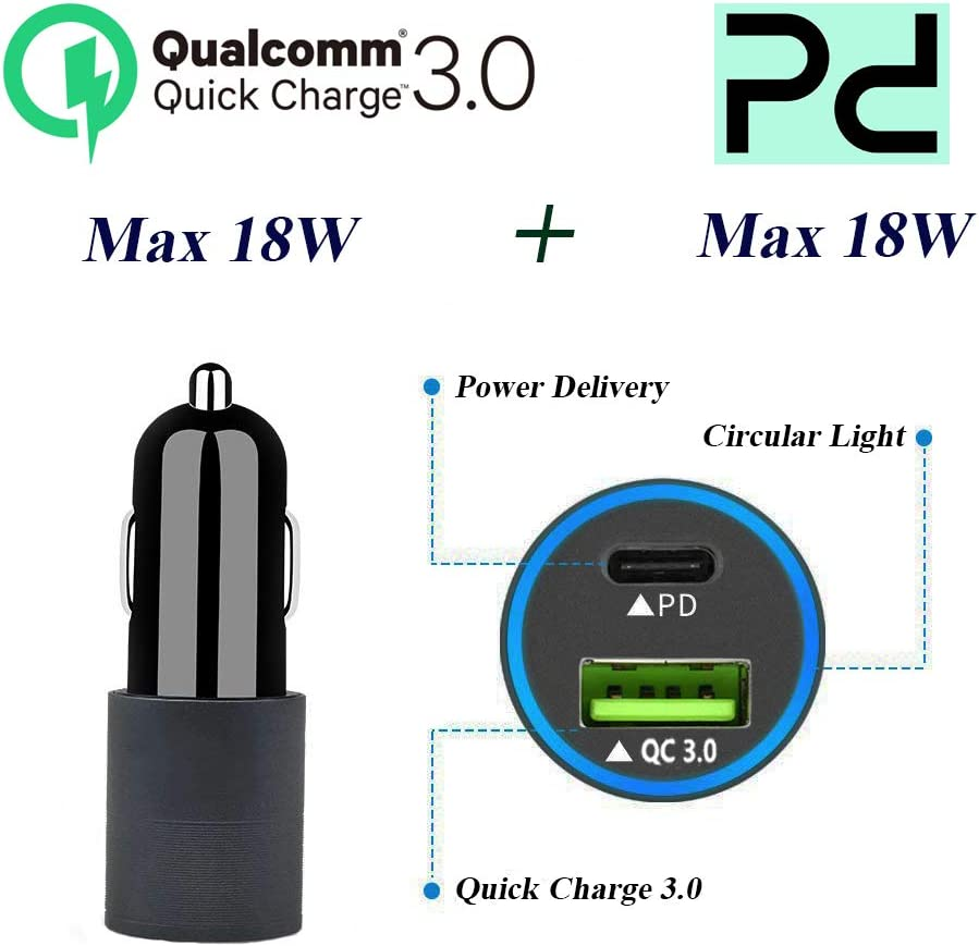 Fast Charging Cell Phone Car Charger Dual USB QC 3.0 Smart Phone Charger Compatible with Any Cell Phones for Samsung Motorola Google LG HTC Cell Phone Car Charger Quick Charge Car Charger