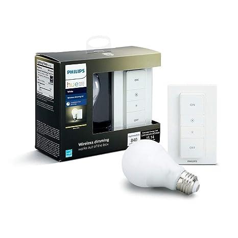 Philips Hue White - Bombilla LED Individual + Interruptor Inalámbrico, 9.5 W, E27, Iluminación conectada, Luz Blanca Cálida Regulable, Compatible con ...