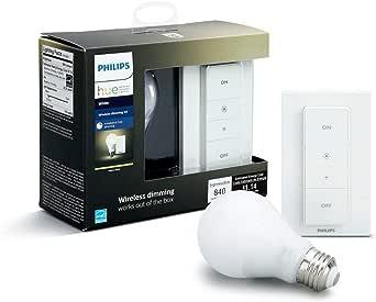 Philips Hue Bombilla Inteligente LED E27, 9.5 W y Mando, Luz Blanca Cálida, Compatible con Alexa y Google Home