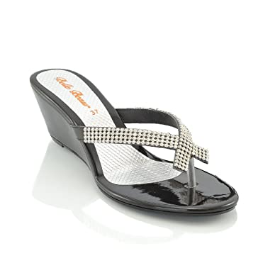 a625c63bac05 ESSEX GLAM NEW WOMENS DIAMANTE TOE POST LADIES DRESSY PARTY SPARKLY WEDGE SANDALS  SIZE 3-8 Silver  Amazon.co.uk  Shoes   Bags