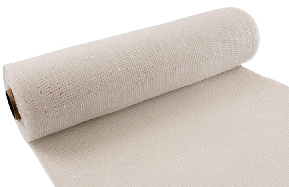 Eleganza No. 42iridescente Deco mesh, bianco, 25cm x 9.1m Oaktree 639508