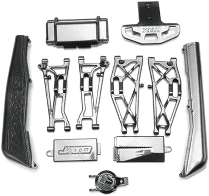 Jato includes rear /& mid-chassis battery covers, receiver cover, dirt guards, suspension arms, front bumper, /& fuel tank cap Traxxas Complete Exo-Carbon Kit
