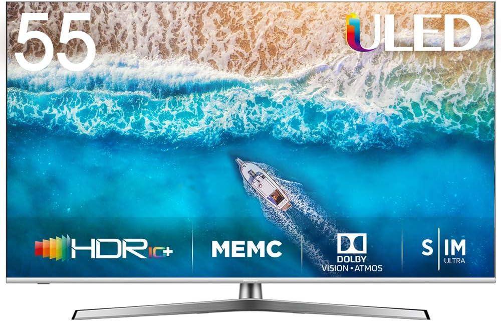 Hisense H55U7BE - Smart TV ULED 55 4K Ultra HD con Alexa Integrada, Bluetooth, Dolby Vision HDR, HDR 10+, Audio Dolby Atmos, Ultra Dimming, Smart TV VIDAA U 3.0 IA, mando con