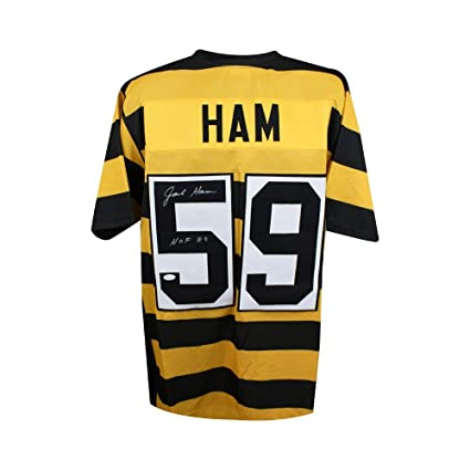 Jack Ham HOF Autographed Steelers Custom Bumblebee Football Jersey ... bad9b86fa