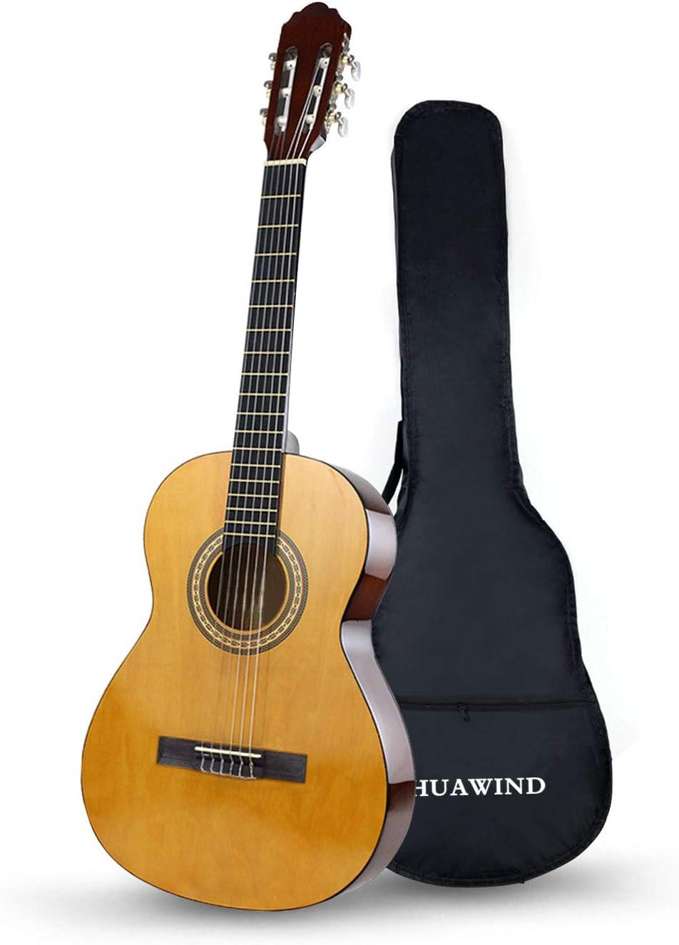 HUAWIND Guitarra Clásica 4/4, Guitarra Española con 6 Cuerdas de Nylon, Guitarra para Principiantes, Adultos, Niños