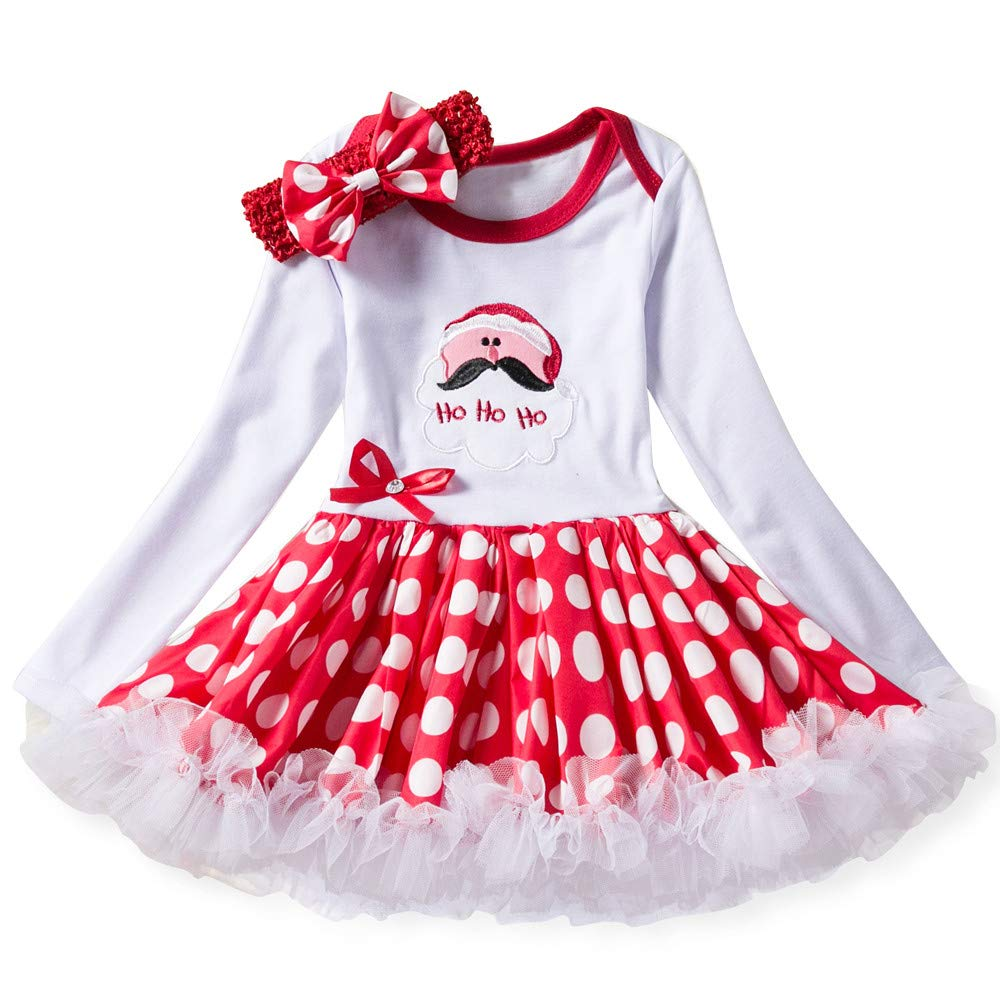 YanHoo Set di Vestiti di Natale Vestito da Principessa Lettera Tutu Neonato Neonato, (3-18M) Bambina Gonna di Soffio di Lettera di Natale Vestito da Principessa Ho Ho Ho