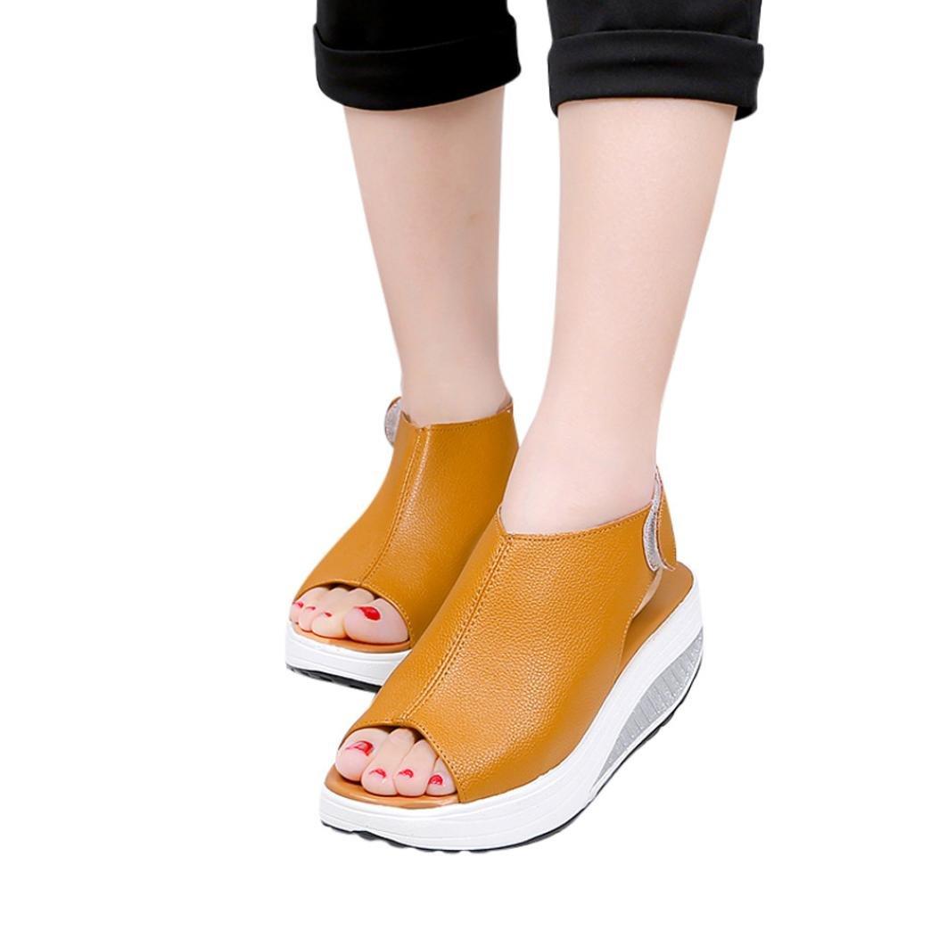 Women Sandals High Heels Summer,Vanvler Ladies Thick Bottom Shoes Shake Shoes Fish Mouth (US 8.5, Brown)