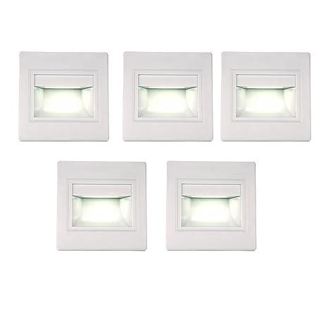 BOLXZHU 5 Pack LED Recessed Stair Light, LED Corner Wall Lamp 85 265V