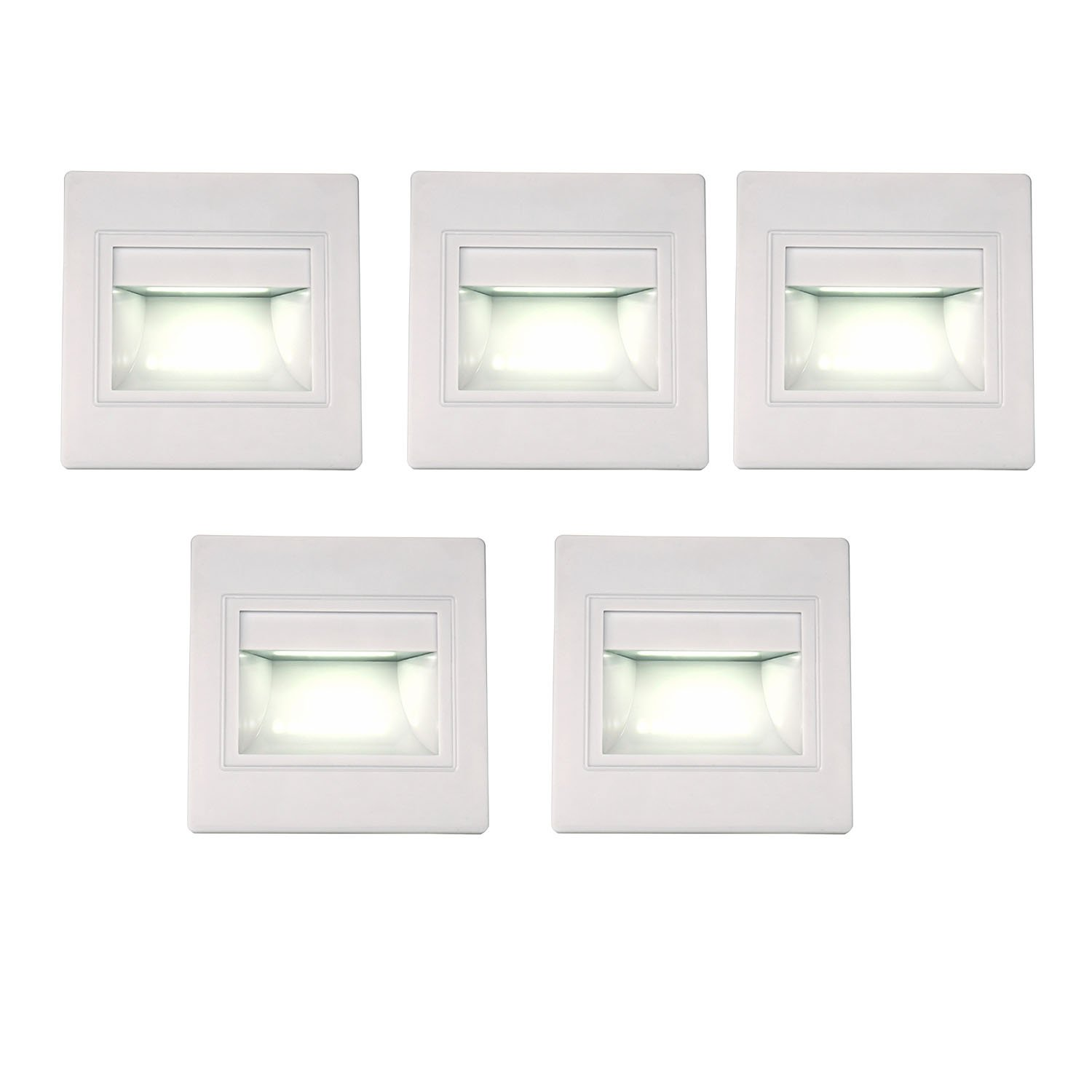 BOLXZHU 5-Pack LED Recessed Stair Light, LED Corner Wall Lamp 85-265V, Embedded LED Stairs Step Night Lighting for Hallway, Stairs, Closet, Bedroom White 6000K