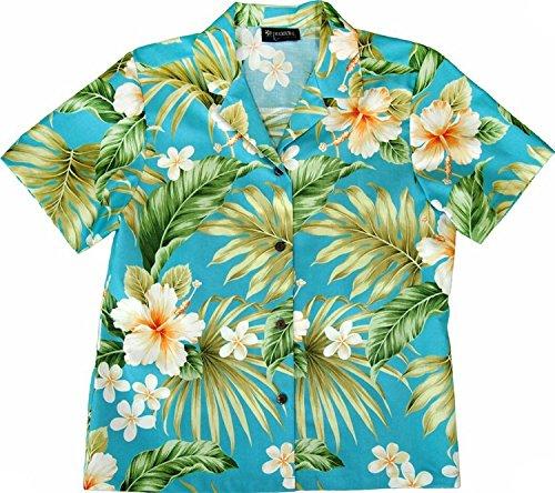 (RJC Women Full Bloom Tropical Camp Shirt Blue 2X)