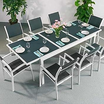 Amazon.de: Florence Tisch & 8 Stühle - WEIß & GRAU | Gartenmöbel-Set ...
