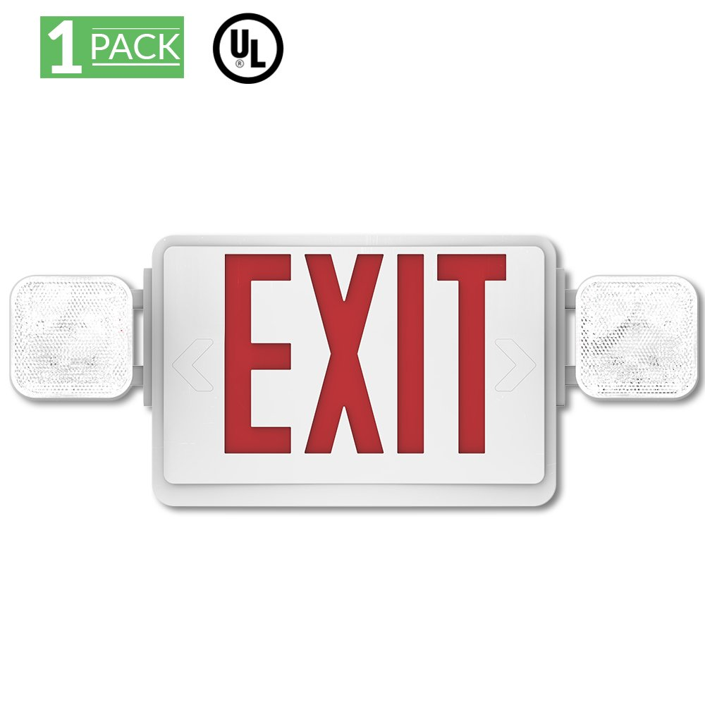 Sunco Lighting 1 Pack Emergency Single/Double Sided EXIT Sign LED Light Fixture With Dual Head Lights Plus Back Up Battery Pack, Commercial, Fire Resistant, US Standard Red Letter - UL Listed