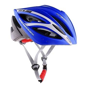 MagiDeal Casco Ultraligero Moldeado Integralmente con Visera para Ciclista Seguridad Protección Equipo Ciclismo - Azul