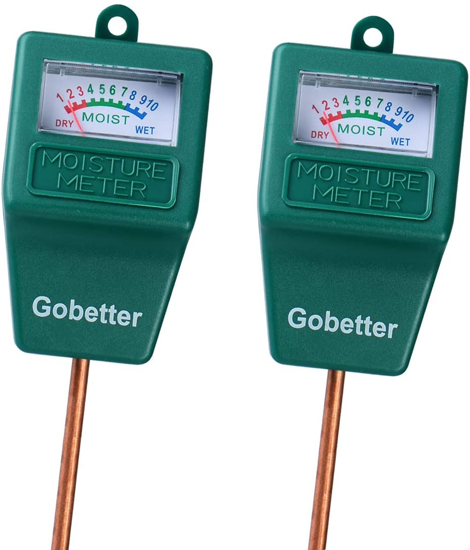 Gobetter Soil Moisture Meter, 2 Pack Plant Water Meter Indoor & Outdoor, Sensor Hygrometer Soil Tester for Potted Plants, Garden, Lawn, Farm (No Battery Needed)