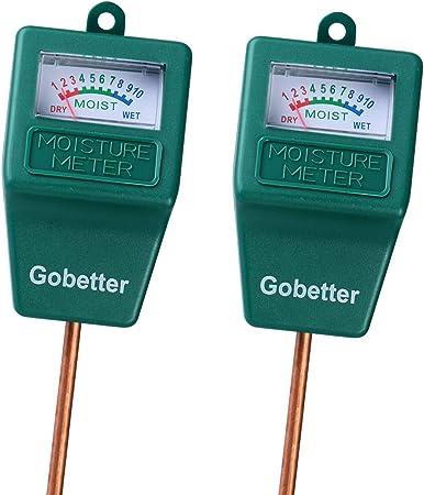 Gobetter Soil Moisture Meter, 2 Pack Plant Water Meter Indoor & Outdoor, Sensor Hygrometer Soil Tester for Potted Plants, Garden, Lawn, Farm (No Battery Needed)