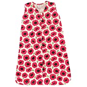 Touched by Nature Baby Organic Cotton Wearable Safe Printed Sleeping Bag, Poppy, 0-6 Months
