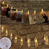 LED Photo Clips String Lights with 20 Clips, Battery Operated Fairy Twinkle Lights for Wedding Party Christmas Home Decor, Hanging Photos, Cards, Painting Pictures(7.2 Feet, Warm White)