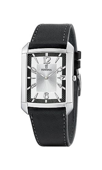 FESTINA F6748/1 - Reloj de caballero de cuarzo, correa de piel color negro: Amazon.es: Relojes