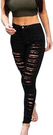 Jumojufol Women's Casual Ripped Holes High Waist Skinny Long Lounge Jeans