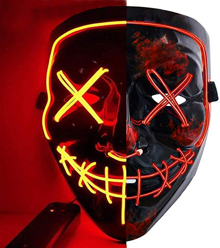 Halloween Mask LED Light up Mask Scary Mask for Festival Cosplay Halloween Costume Masquerade Parties,Carnival,Gifts