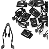 uxcell 20Pcs Black Auto Car Dash Dashboard Console Trim Metal Retainer
