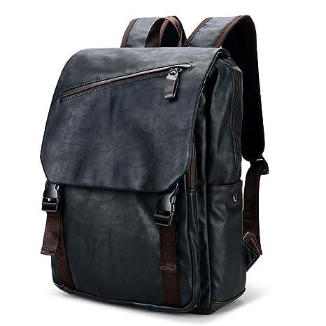 Mochila de cuero para computadora portátil de negocios, mochila para computadora de viaje, bolsa