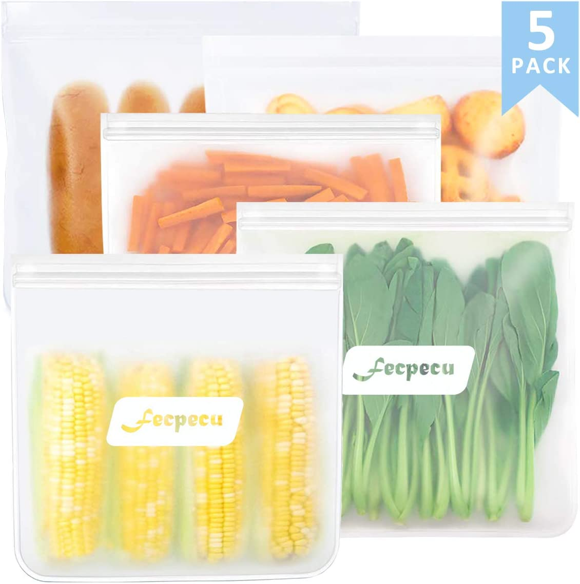Reusable Gallon Freezer Bags – 5 Packs 1 Gallon Ziplock Leakproof Reusable Gallon Bags EXTRA THICK for Marinate Meats, Fruit, Snack, Vegetable, Sandwich, Cereal, Home Organization