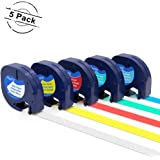 Compatible DYMO LetraTag 91331 91332 91333 91334 91335 Label Tape Combo 5 Pack, 12mm x 4m (1/2 inch x 13 Feet) for Dymo LetraTag Plus LT100H LT100T QX50 Label Maker