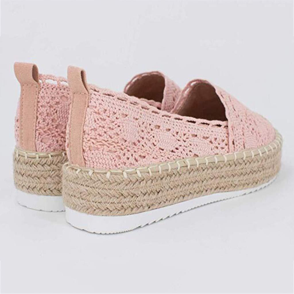 Auied Damen Hollow Platform Casual Round Toe Schuhe Einfarbig Atmungsaktiv Wedge Espadrilles