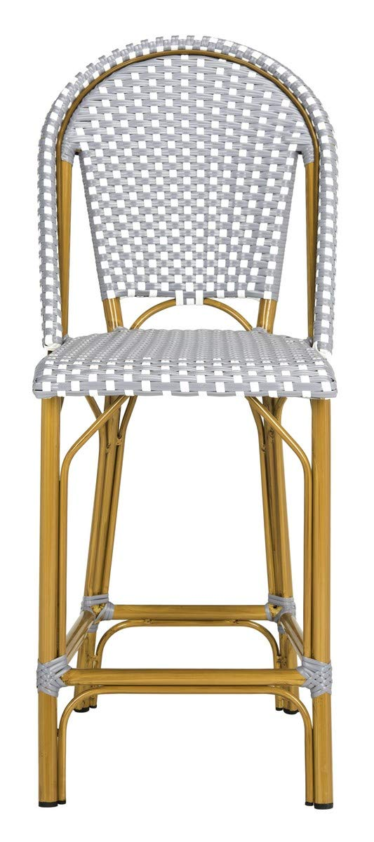 Safavieh PAT4019B Collection Gresley Grey and White Indoor/Outdoor Stacking French Bistro Counter Stool by Safavieh
