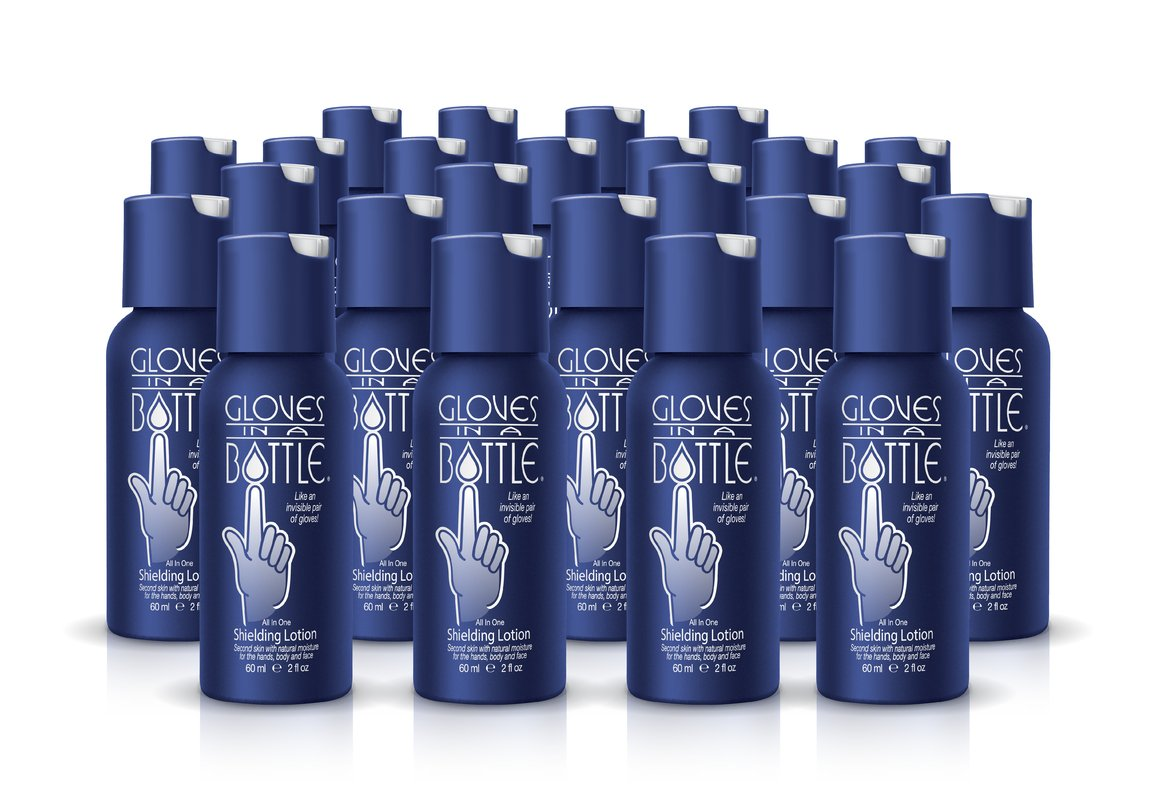 24-Pack Gloves In A Bottle Shielding Lotion - Great for Dry Itchy Skin! Grease-less and Fragrance Free! (2oz-60ml)