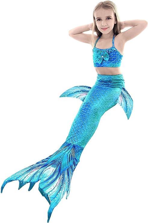 Lanqinglv M/ädchen Meerjungfrau Schwanz Badeanzug Prinzessin Cosplay Kost/üm 3 Pcs Bikini Set Badeanz/üge Schwanzflosse Bademode f/ür das Schwimmen