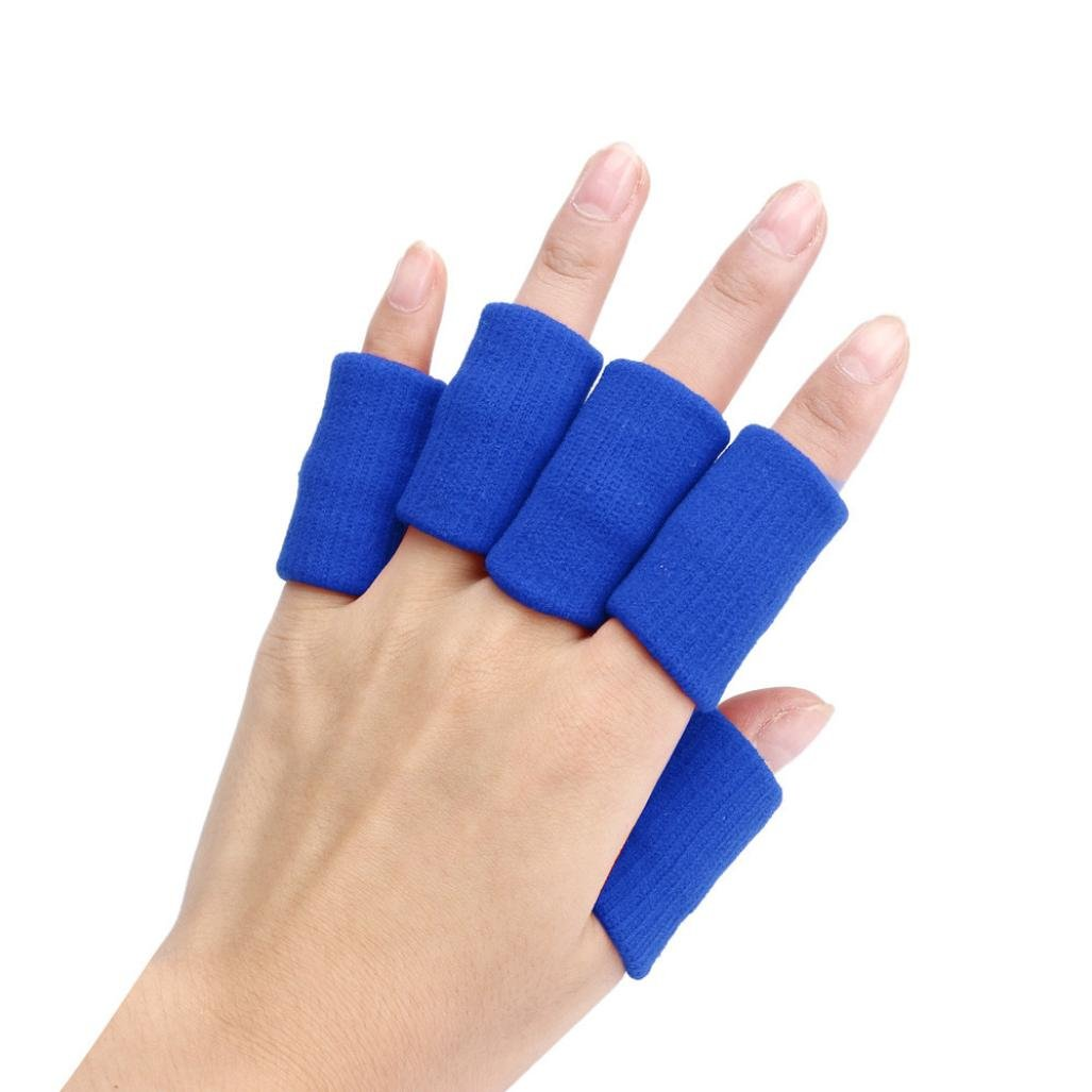 Feccile Sports & Fitness Finger Guard Sleeves Protector Support Basketball Finger Elastic Arthritis Compression Thumb Brace 10pcs/set(Blue)
