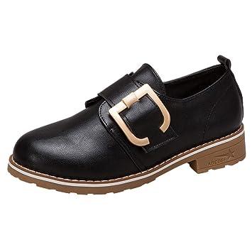 LuckyGirls Botines de Cuero para Mujer Hebilla Zapatos Casual Calzado de Planos Transpirables Zapatillas Informales Bambas Alpargatas Mocasines Náuticos: ...