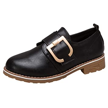 LuckyGirls Botines de Cuero para Mujer Hebilla Zapatos Casual Calzado de Planos Transpirables Zapatillas Informales Bambas