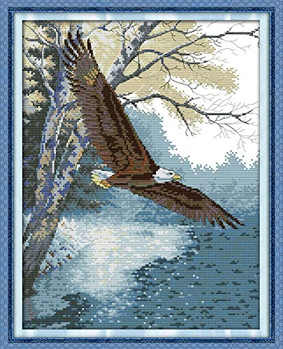 Zamtac Eagle Wings Counted Cross-Stitching 11CT Printed 14CT Handmade Cross Stitch Set Animals Cross-Stitch Kits Embroidery Needlework - (Cross Stitch Fabric CT Number: 14CT White Canvas)