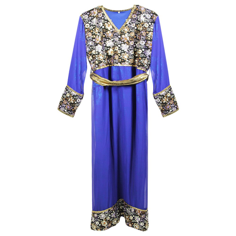 Floral Pattern Top Cuffs and Skirt Two Layer Blue Abaya Size M