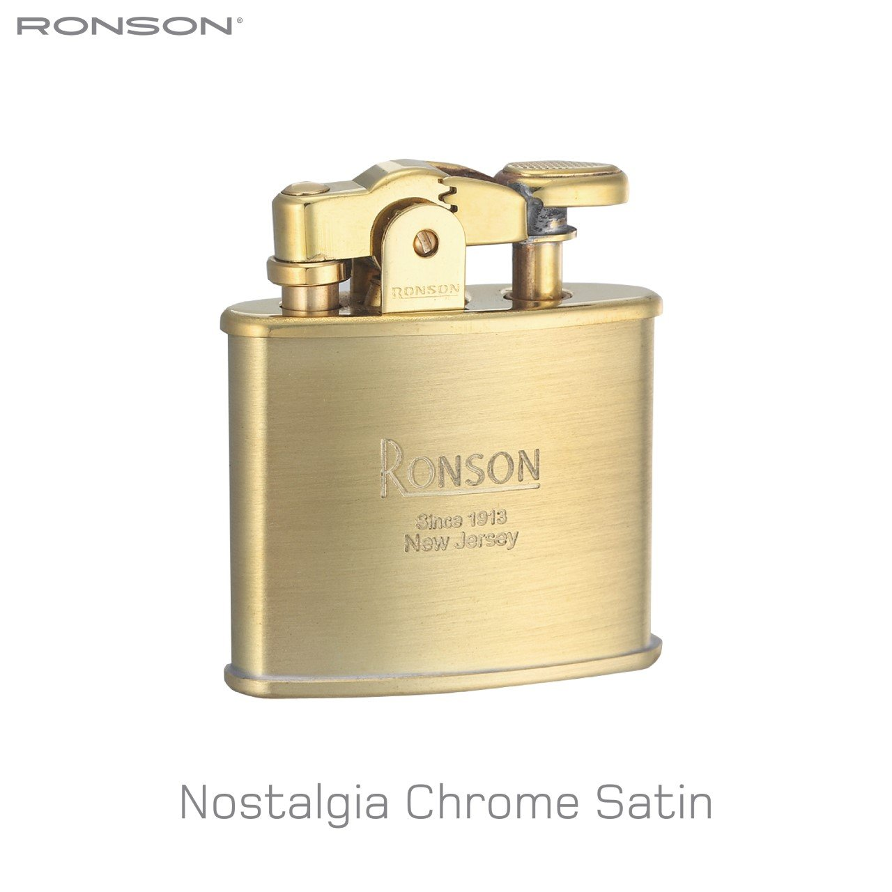 Ronson Nostalgia Standard Satin Brass Soft Flame Petrol Lighter New Gift Boxed by Ronson (Image #1)